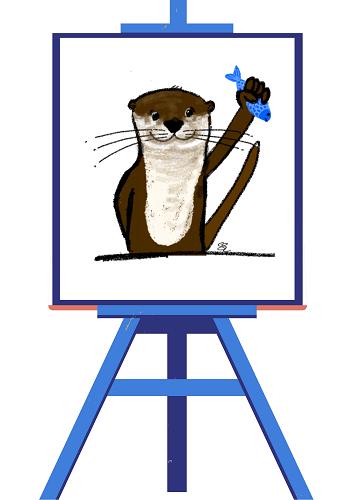 Otter art on easel